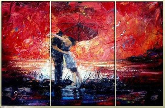 Pure Love KissRed Abstract PaintingLarge Wall ArtWall