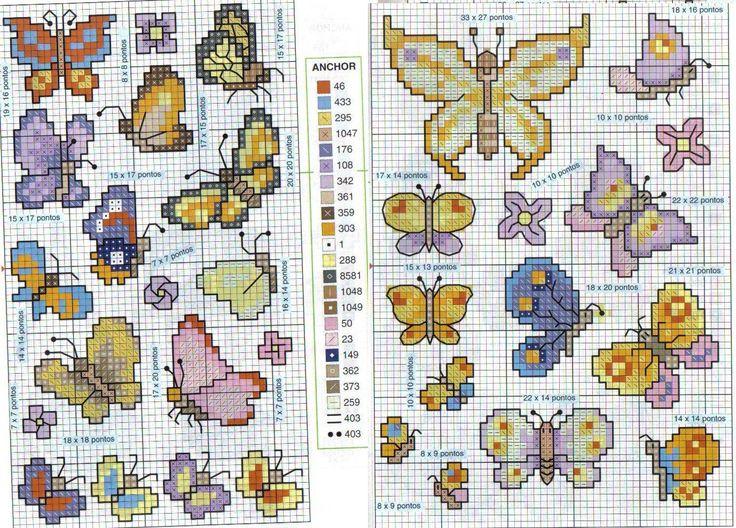 Schema punto croce Farfalle 22