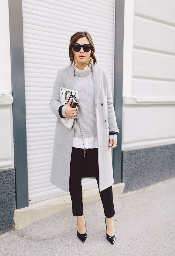 Grey coat and sweater | white shirt | black pants and shoes