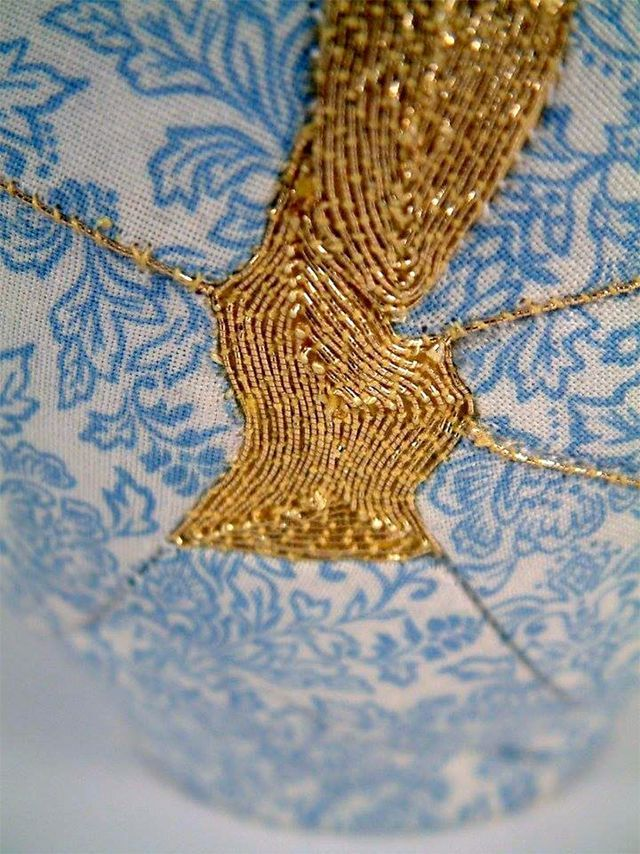 Brighton-based artist Charlotte Bailey was fascinated by the traditional Japanese mending technique called kintsugi, where a broken ceramic object is repaired with gold, silver or platinum, to accentu