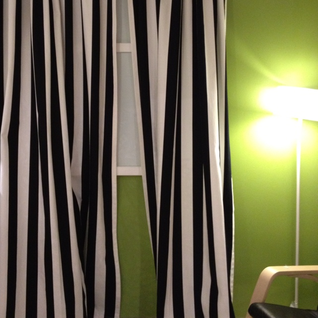 Black and white striped curtains my work space for White curtains ikea