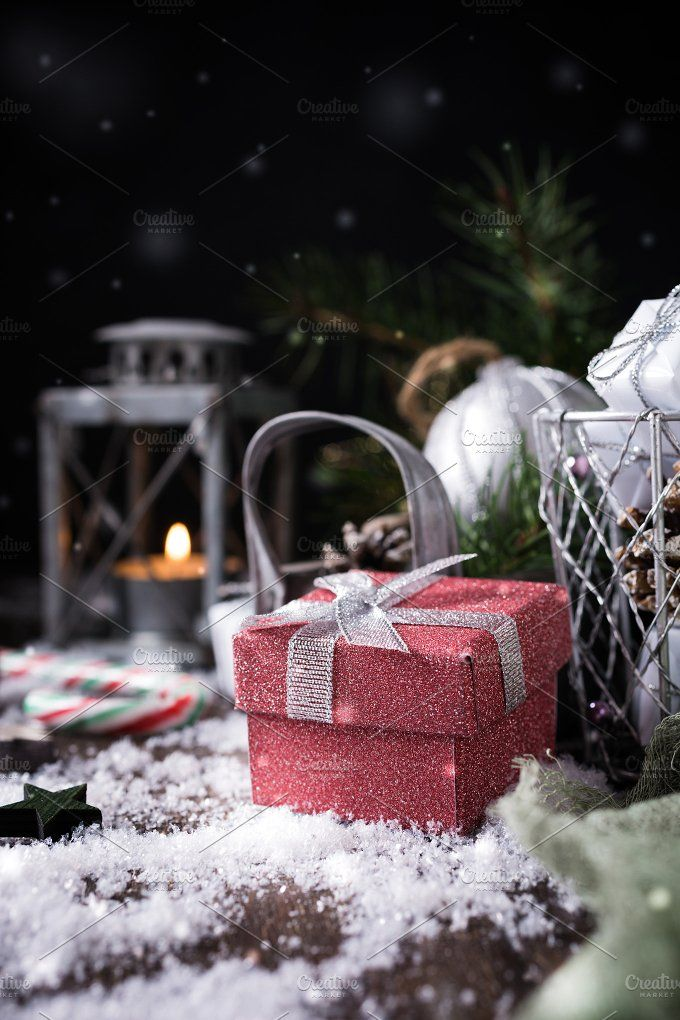Christmas composition with pine cone ~ Holiday Photos on Creative Market