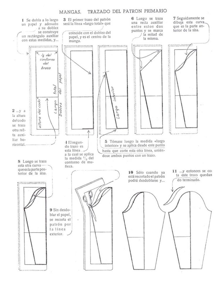patrones de mangas [Sleeve pattern making - not in English, need to translate it]