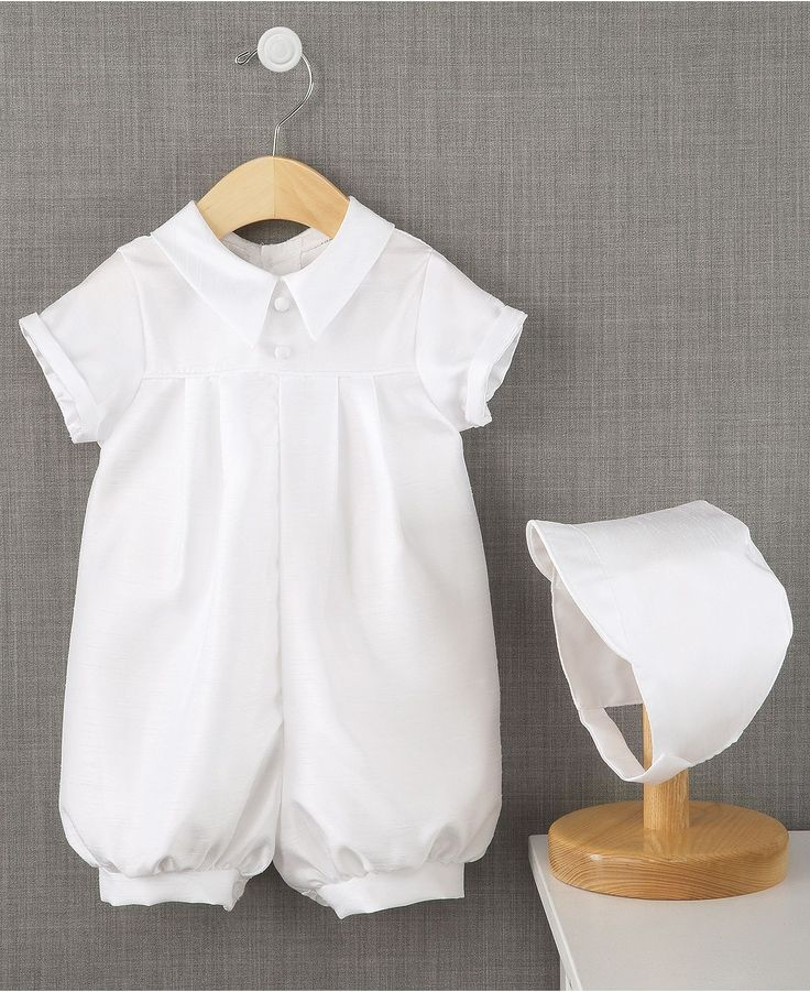 For his special day, dress him up in something to remember with this Lauren Madison christening romper. | Polyester | Dry clean | Made in USA | Baby boys shantung short christening romper from Lauren