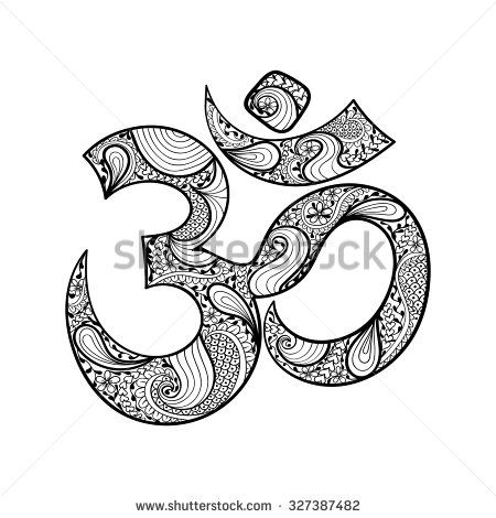 Hand drawn Ohm symbol, indian Diwali spiritual sign Om with high details isolated on white background, illustration in zentangle style. Vector monochrome sketch. - stock vector