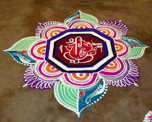 Ganesh Rangoli Designs and Patterns for Diwali