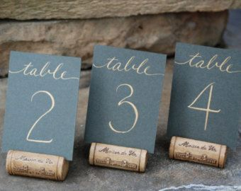 """Mini Wedding Table Numbers - Flat 2.5 x 3.5"""" Card with Hand Calligraphy  Coordinating Wedding Name Place Cards  Escort Cards Also Available"""