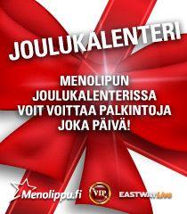 Menolipun joulukalenterista voi voittaa palkintoja vaikka joka päivä! http://menolippu.fi/kilpailu/