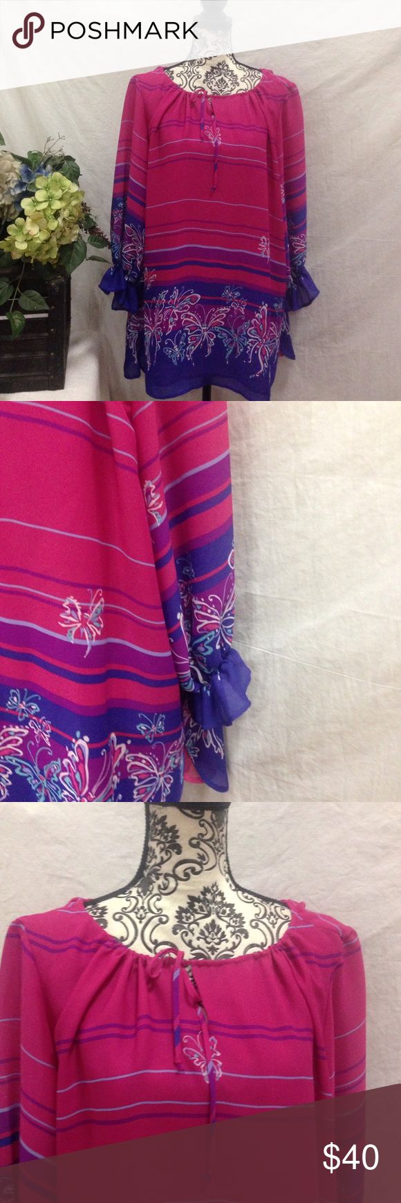 Bob Mackie Fuchsia/Purple Dress/Tunic Bob Mackie! Fuchsia and purple. Lined. Ties at the neck. Can be worn as a mini dress or long Tunic. Great quality. No flaws. Size XL. Bob Mackie Dresses Mini