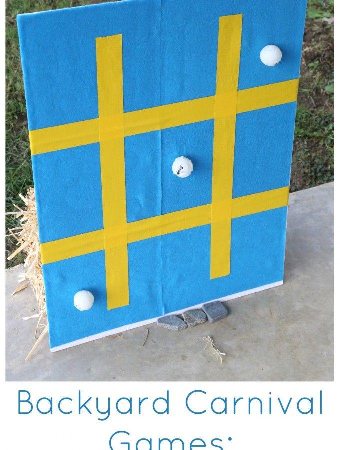 Backyard Carnival Games for Kids:  Sticky Tic Tac Toe