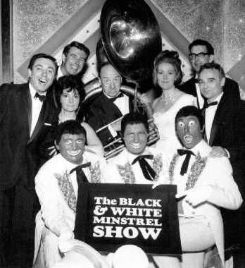 The Black & White Minstrel Show was a popular British television show.  A petition against it went to the BBC in 1967.  The characters in Joe Egg make a few derogatory references about black people.