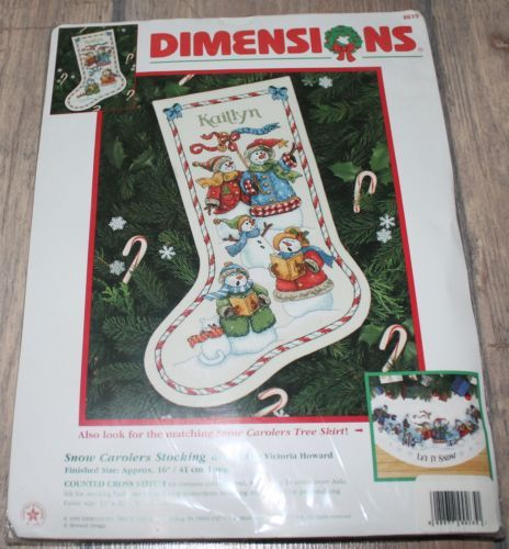 Snow-Carolers-Christmas-Stocking-Dimensions-Counted-Cross-Stitch-kit-NIP-RARE