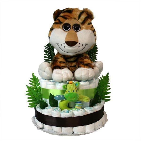 """Tarta pañales """"Safari Tigre"""", divertido regalo y muy práctico para sorprender a los nuevos padres."""