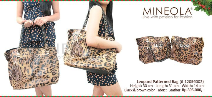 #myMINEOLA December New Arrival!  Leopard Pattern Bag (6-12096002)  Price: Rp.395.000,- Color: Black, Brown  Measurement: Height: 30cm - Length: 31cm - Width: 14m   Material: Leather