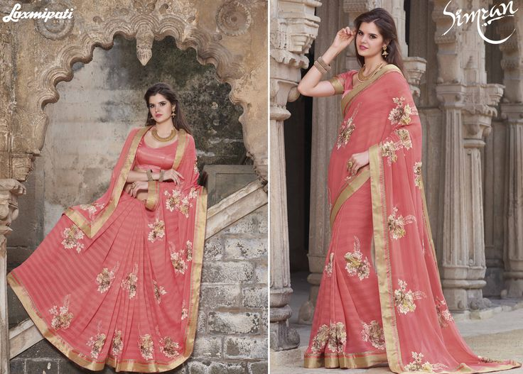 Buy this Exclusive Peach Chiffon Resham Embroidery Work Saree with Satin Silk Peach Blouse along with Golden Lace Border Online from Laxmipati.com in USA, UK, Canada,India. Shop Now! 100% genuine products guaranteed. Limited Stock! #Catalogue #SIMRAN  #Bridal #‎ReadyToWear #Wedding #Apparel #Art #‎Autumn #‎Black #Border #CasualSarees #Clothing ‪#‎ColoursOfIndia ‪#‎Couture #Designer #Designersarees #Dress #Dubaifashion #Ecommerce #‎E