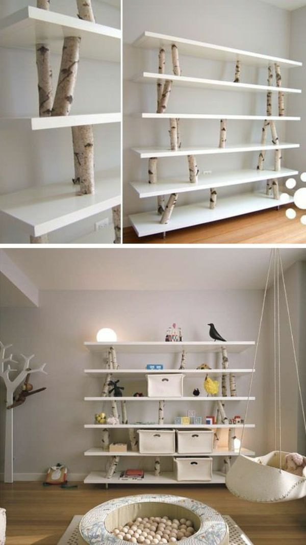 bring some nature inside with simple shelf planks secured with tree trunk sections