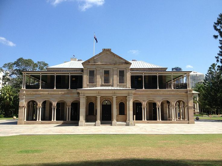 Queensland's first Government House is located at Gardens Point in the grounds of the Queensland University of Technology at the end of George Street in Brisbane, Queensland, Australia. Built 1860-1862.