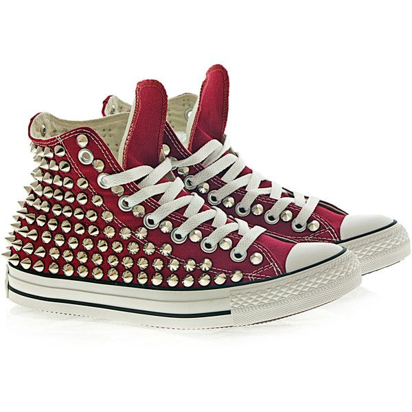 Holiday Promotion, Studded Converse, Silver Studs with converse Maroon... ($105) ❤ liked on Polyvore featuring shoes, sneakers, converse, silver evening shoes, silver high tops, converse sneakers, vintage shoes and converse trainers