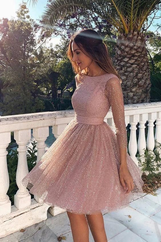 Glitter Pink 3/4 Sleeves Open Back Short Prom Homecoming Dress - As Photo / US14 in 2021 | Homecoming dresses short, Pink homecoming dress, Homecoming dresses