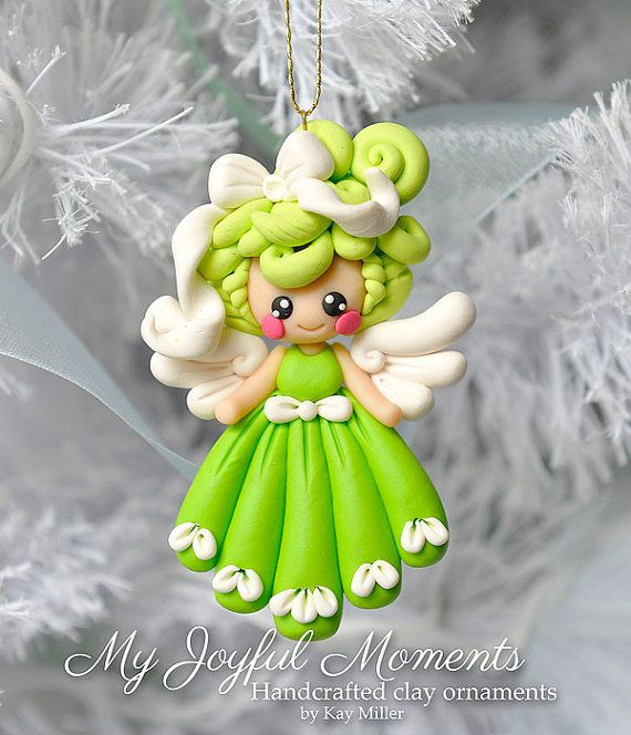 Handcrafted Polymer clay Angel Ornament by Kay Miller on Etsy.