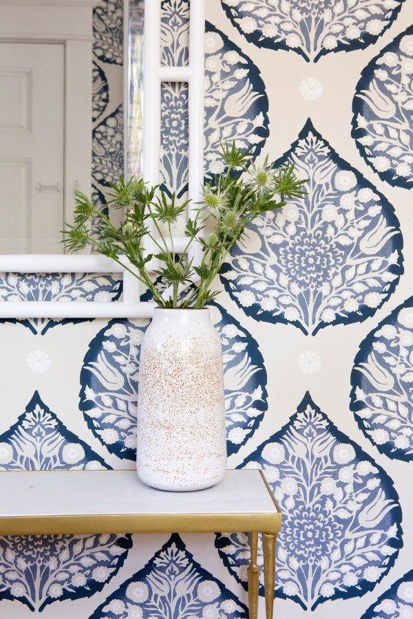 indigo print wallpaper. San Francisco Home Remodel - Megan Bachmann Interiors