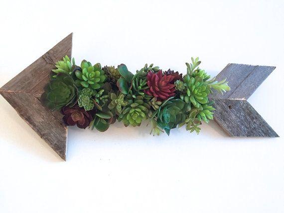 Rustic Arrow Arrangement Artificial Succulent Vertical Wall Planter on Arrow…