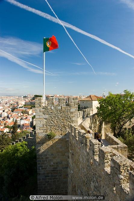 Castle walls and Portuguese flag