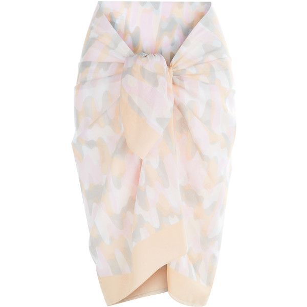 La Perla Beyond the Beach Printed Cotton Sarong featuring polyvore, women's fashion, clothing, swimwear, cover-ups, pink, cotton sarong, beach sarong, cotton cover ups, camo swimwear and beach swimwear