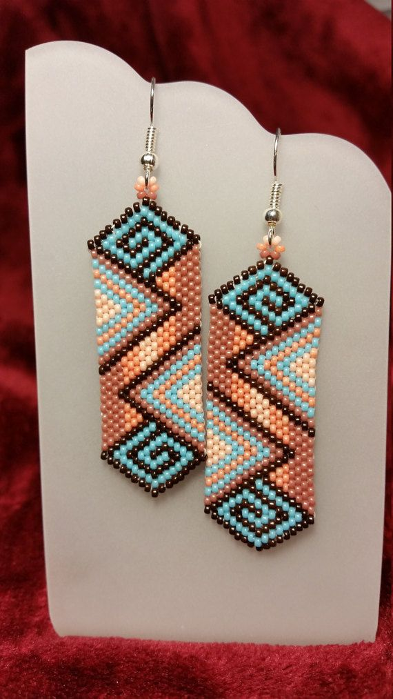 Native American earrings - peyote stitch rose, blue and brown earrings