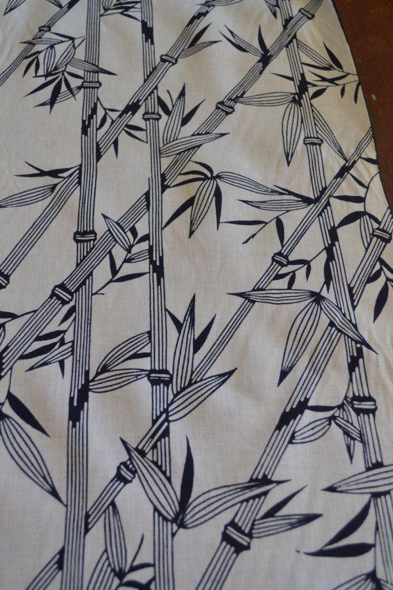 Beautiful Vintage Japanese Print Cotton Kimono Fabric Dark