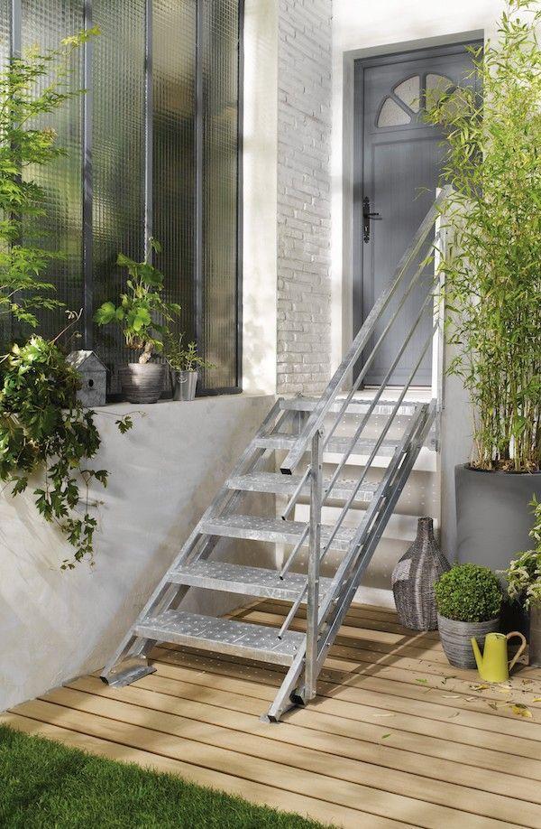 Escalier Exterieur Droit New York Acier Galvanise Escalier