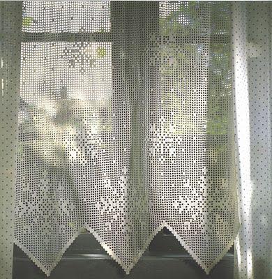 many crochet curtain patterns- I like the snowflakes