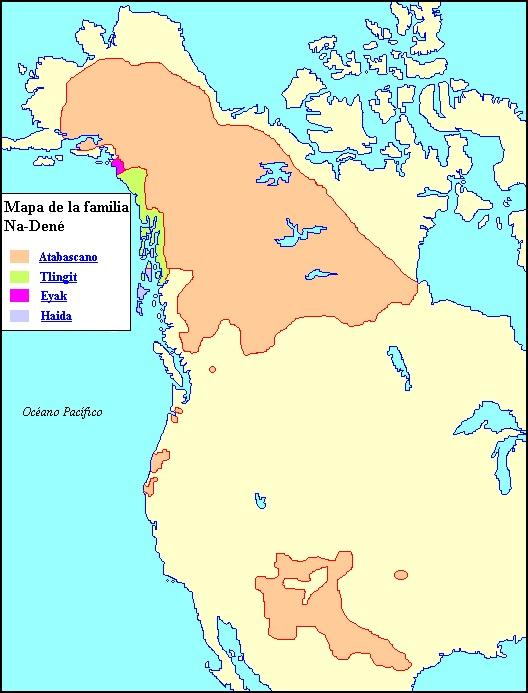 Mapa de la familia lingüística Na-Dené