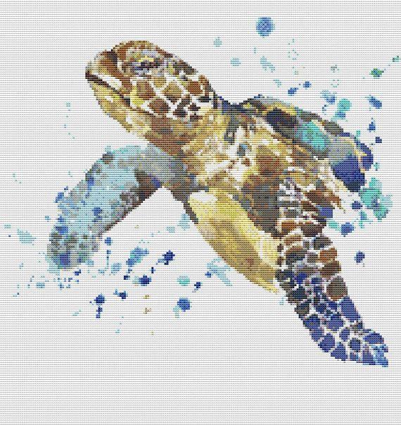 Watercolor Sea Turtle Cross Stitch Pattern Sea Cross Stitch Cute