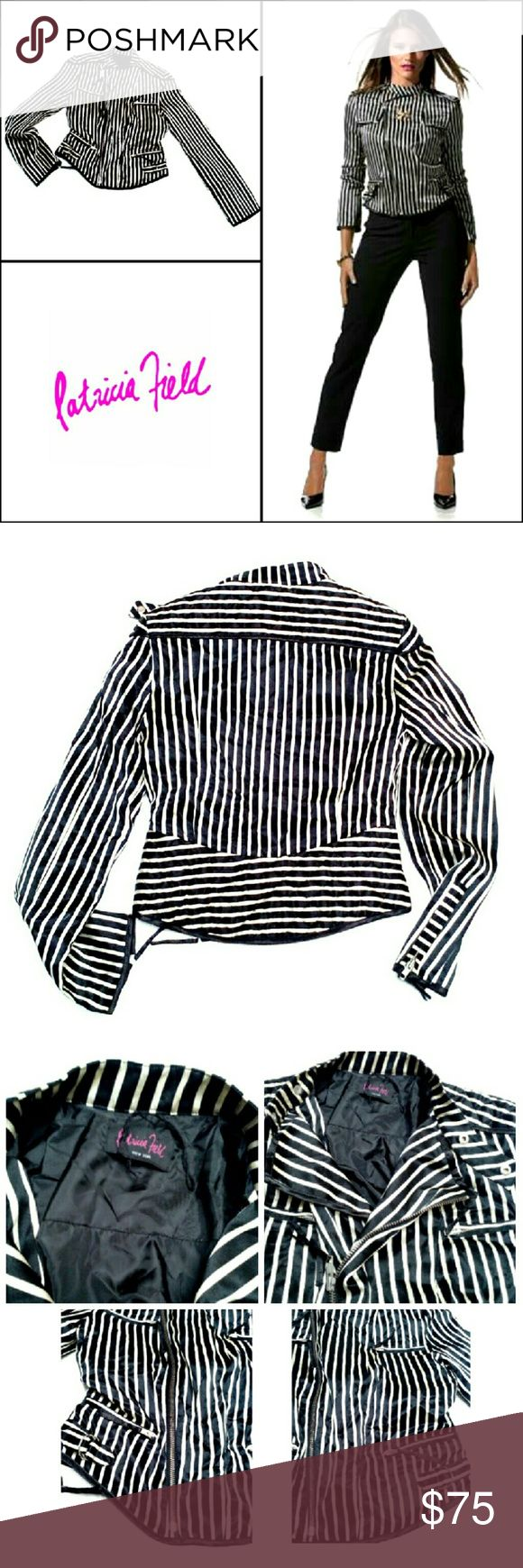 "PATRICIA FIELD BLACK & WHITE STRIPE SILK JACKET PATRICIA FIELD BLACK & WHITE STRIPE SILK JACKET Pre-Loved  / EUC  / RN# 77025 Size 4 Instead of a Dress for New  Years , Dress up in  a Silk Jacket & Black Pants! Patricia Fields has Contributed to the Designs on the Great Shows & Movies as ""The Devil Wears Prada"" & ""Sex  in the City"" Vertical B&W Stripes, 4 Front Zip Pkts, Moto Style Zip SHELL;    100% Silk LINING;    100% Polyester Approx; Mesrms;    *   Armpit to Armpit  17""    *   Back Neck…"