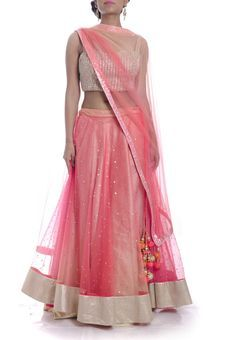 Pink Ombre Embroidered Lehnga Set by Cita9 by Ritu & Divvya, Lehengas