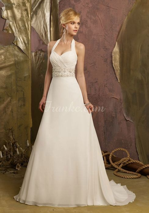 sleeveless crystals long halter chiffon wedding dress - Frankc.com