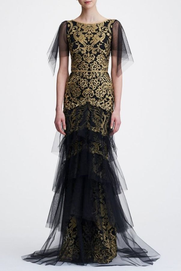 7c0adfdde776 Marchesa Notte Black Gold Short Sleeve Metallic Embroidered Gown ...