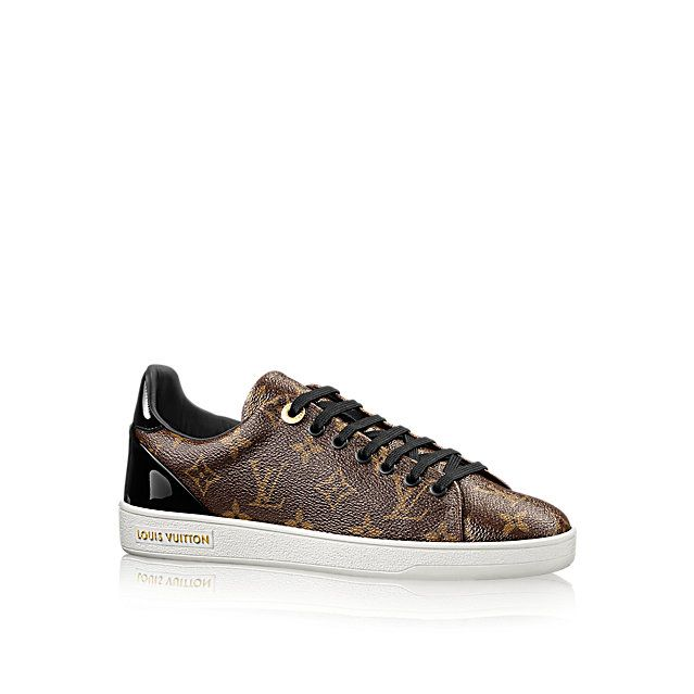 Discover Louis Vuitton Frontrow Sneaker Reinterpreting the classic tennis shoe, this stylish sneaker in Louis Vuitton's iconic patent Monogram canvas has a clean-cut design complemented by black patent leather trim and subtle gold metal details.