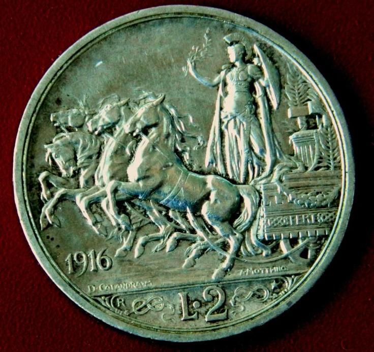 Италия Квадрига 2 лиры В.Им 1916 СЕРЕБРО с Рубля auction 2 lire 1916 Italian coin