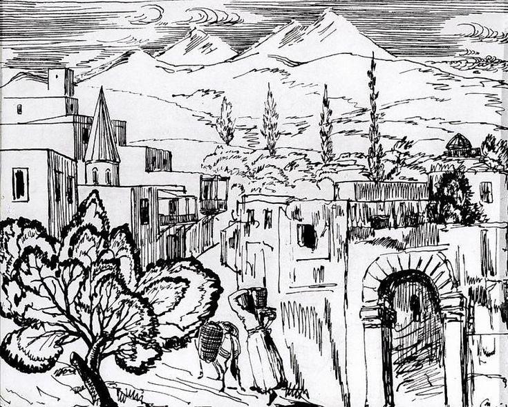 'Ashtarak', Ink by Martiros Saryan (1880-1972, Russia)