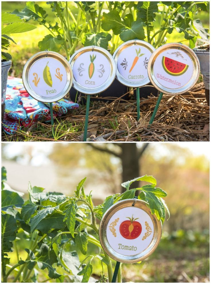 Learn to make cute DIY garden stakes using mason jar lids. Grab your Outdoor Mod Podge and a free printable . . . you'll have new markers in minutes!