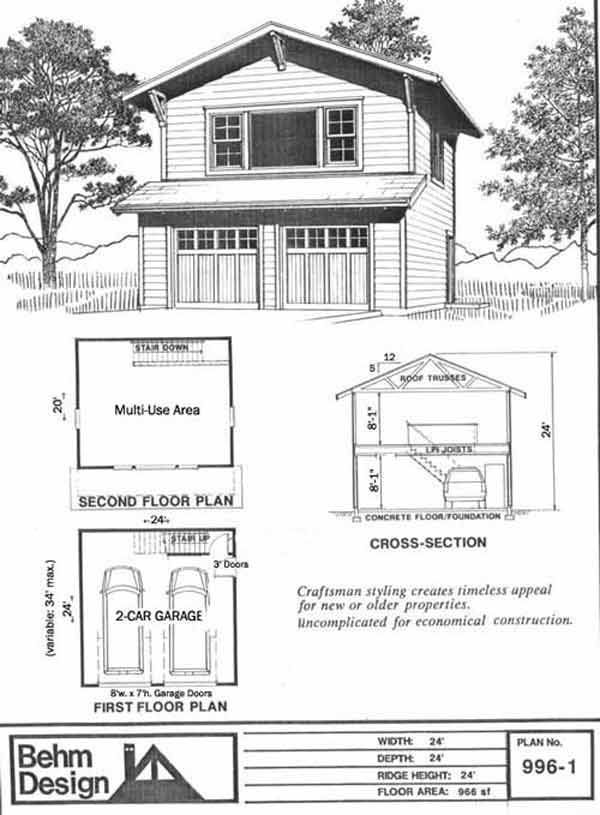 Craftsman style two story 2 car garage plan 996 1 by behm for Double garage with room above plans