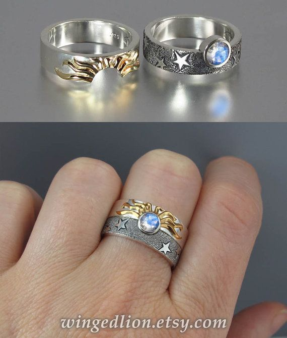 SOLAR ECLIPSE Sun and Moon Engagement rings with Moonstone in sterling silver and 18k gold