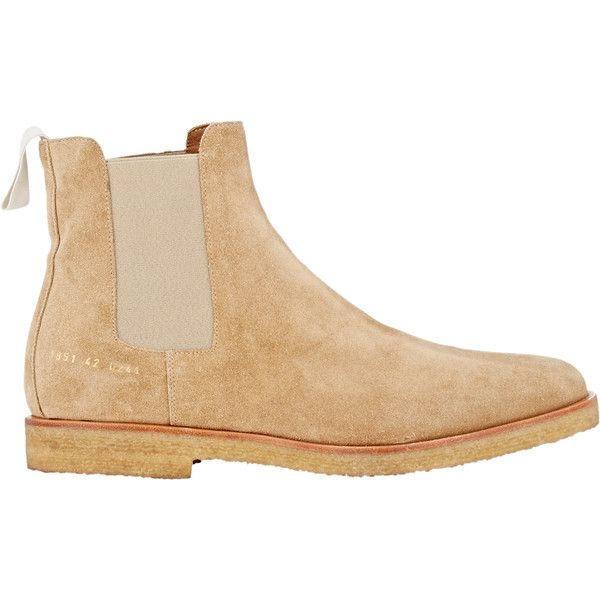 Common Projects Men's Suede Chelsea Boots ($530) ❤ liked on Polyvore featuring men's fashion, men's shoes, men's boots, boots, shoes, tan, mens suede chelsea boots, mens fur lined shoes, mens suede shoes and mens tan suede shoes