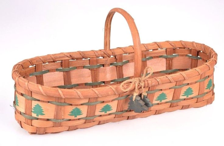 Details About Woven Wicker Basket Pine Trees Christmas