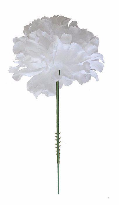 """CASE OF 100 White Carnation Bulk Silk Flower Picks 3.5"""" Bloom x 5"""" Tall"""