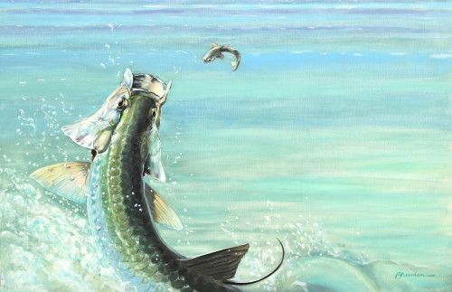 """Tarpon painting """"Bustin Loose"""" by Brendan Coudal. Tarpon, tarpon painting, Boca Grande, Texas Tarpon, fish painting. Canvas prints. $250-$350 depending on size."""