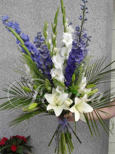 Hand-tied bouquet of lilies, gladiola and delphinium