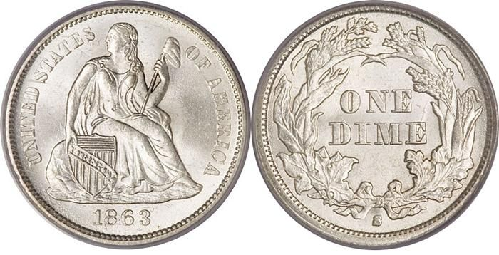 Seated Dime US Coin Values Chart Key Date Price Guide